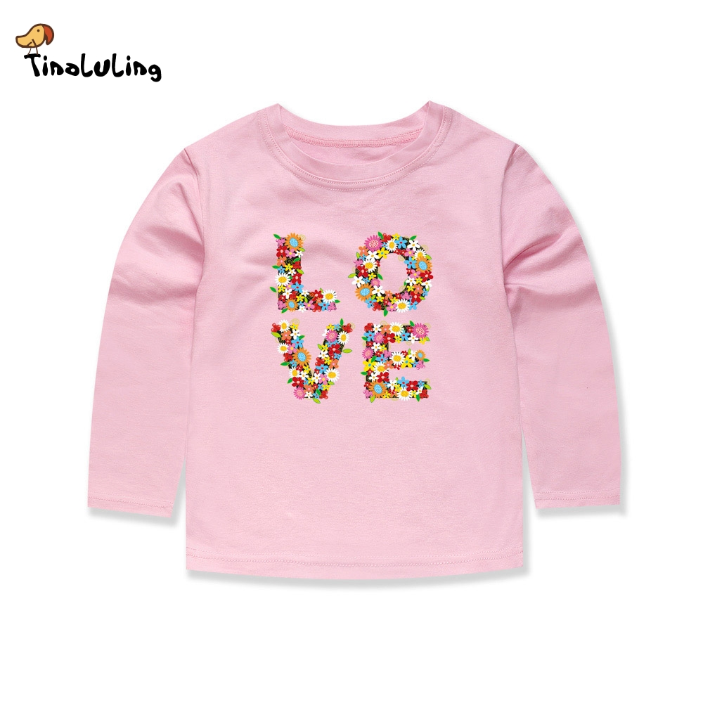 TINOLULING 2018 Baby Girls Love T shirts Kids Flower T-Shirts Children Clothing Boys Tees For Spring Autumn 1