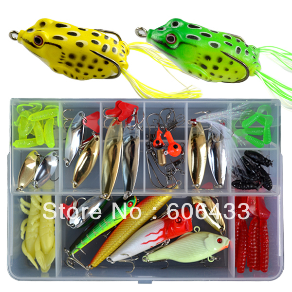 42 Fishing Fish lure mimmow soft lure Spoon box set + 2 frog lure lure