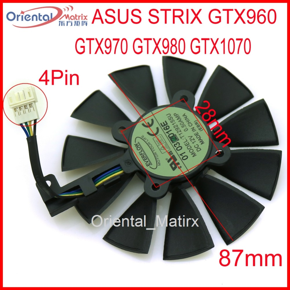 Free Shipping T129215SU 12V 0.5A 87mm VGA Fan For ASUS Strix GTX960 GTX970 GTX980 GTX1070 Graphics Card Cooler Cooling Fan computer vga gpu cooler rog strix rx470 dual rx480 graphics card fan for asus rog strix rx470 o4g gaming video cards cooling