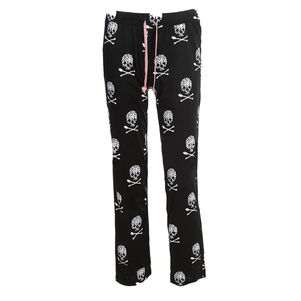 Polyester Women Lady Causal Daily High Waist Skull Print Wide Calf Length Long Leg Pants Women's plus size Harajuku Pants c0404 11