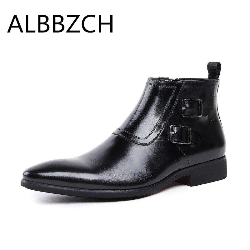 Moda Outono Fivela Boots Black Sapato Negócios Primavera Botas Fino Vestido Couro Ankle Dos De Casamento Trabalho Homens Sapatos Preto Genuíno Bico zqz8T