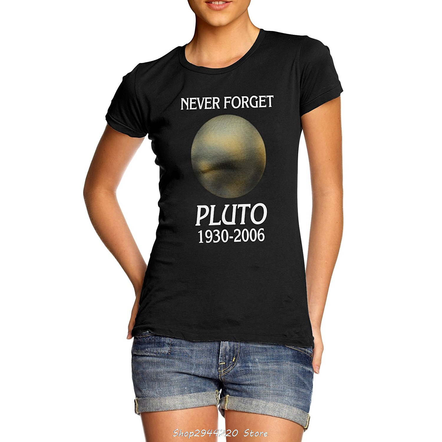 Design your t shirt and sell - Hot Sell Women S Tees Women Cotton Novelty Funny Design Astrology Never Forget Pluto T Shirt