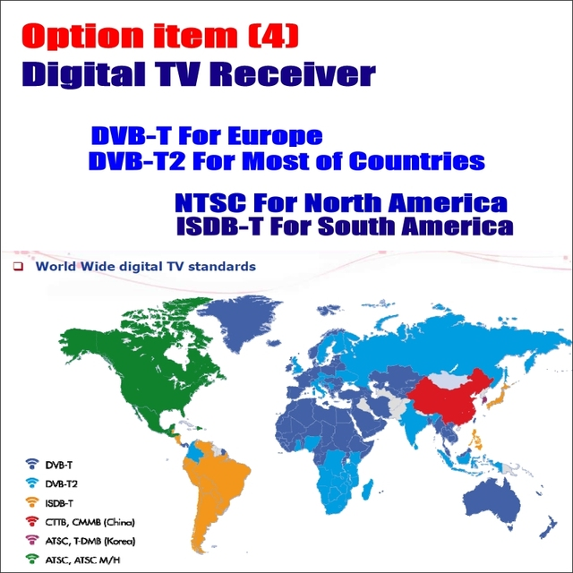 Car Digital TV Receiver DVB-T DVB-T2 ISDB-T ATSC-T Box