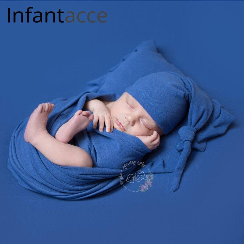 4pcs set newborn photography props backdrops wrap hat caps pillow baby photo prop accessories blanket for infant photoshoot Hats & Caps     - title=