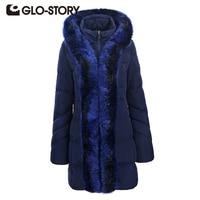 GLO STORY 2017 Winter Jacket Women Medium Long Korean Style Big Fur Hooded Warm Thick Parkas