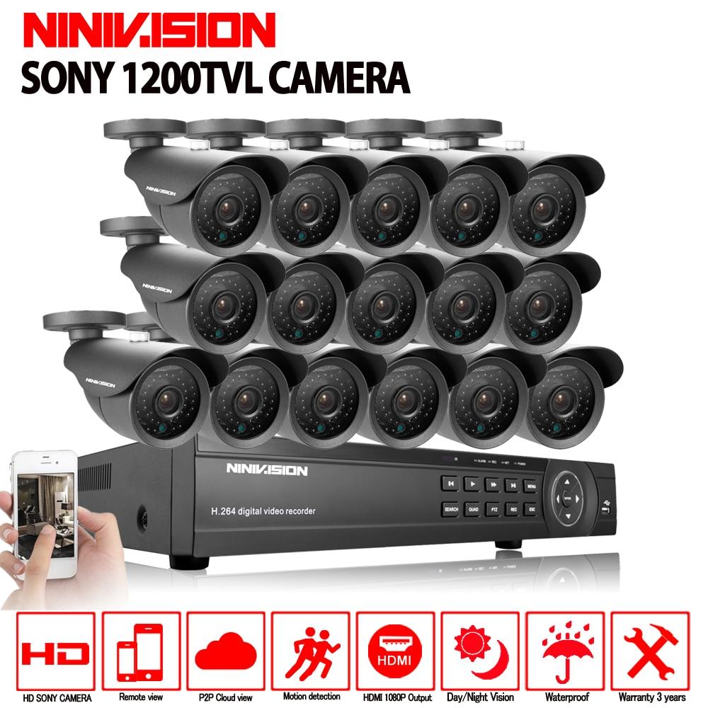 Kit de caméra extérieure de surveillance vidéo 1200TVL de sécurité 16 canaux NINIVISION 16ch AHD CCTV DVR enregistrement système de vidéosurveillance HDMI 1080 P