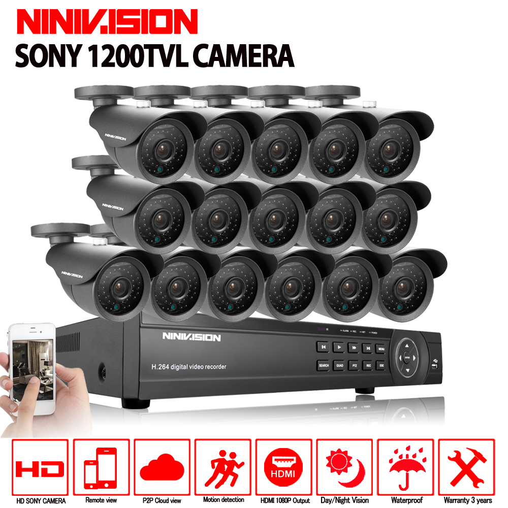 NINIVISION 16 1200TVL canal de segurança kit câmera de vigilância de vídeo ao ar livre 16ch AHD CCTV gravação DVR HDMI 1080 p sistema de CFTV