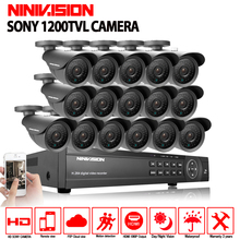цена на NINIVISION 16 channel security 1200TVL video surveillance outdoor camera kit 16ch AHD CCTV DVR recording HDMI 1080P CCTV system