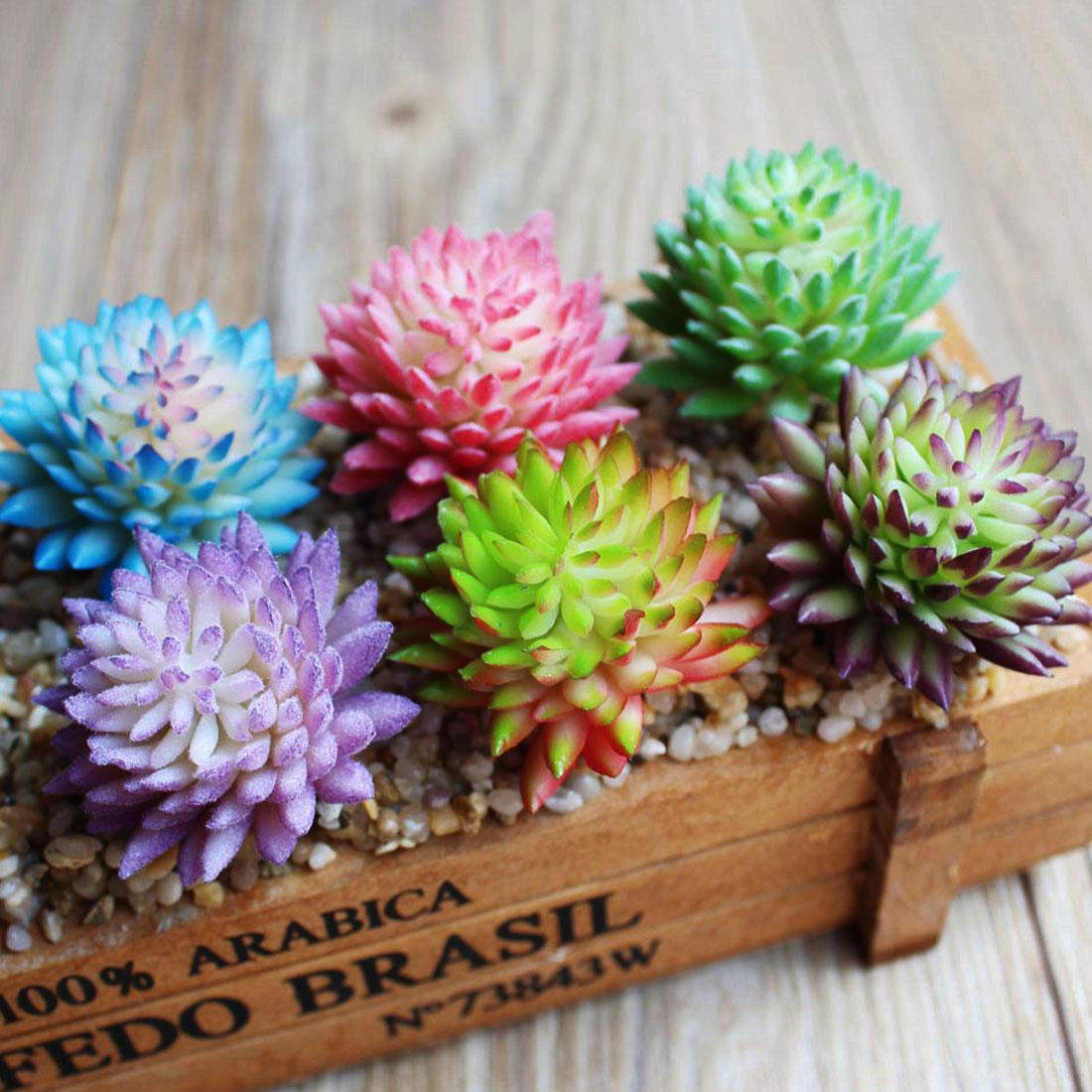 Artificial Lifelike Succulents Flower Home Decoration PVC Plant Garden Miniature Aloe Cactus DIY Home Floral Decorative Flower