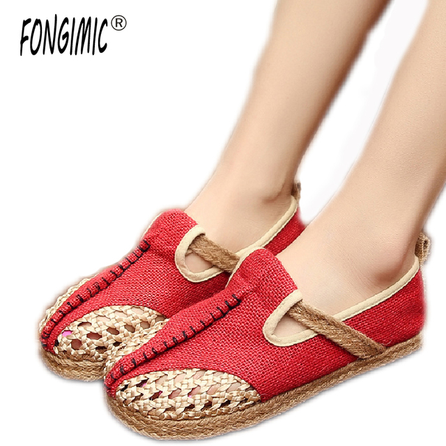 Fongimic Women Casual Shoes High Quality Lady Fashion Flats Spring Autumn  Hemp Women Special Design Facile Old Beijing Shoes c7cba16447ea