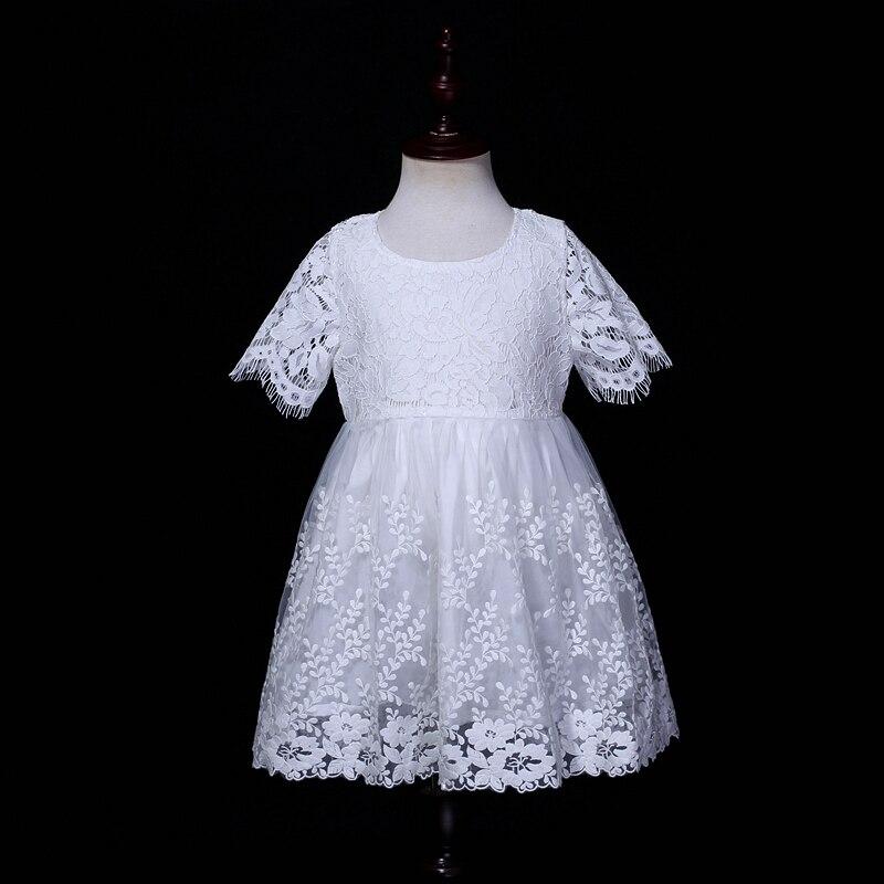 Été enfant vêtements bébé fille broderie dentelle robe de mariée princesse vacances plage infantile fleur filles fête d'anniversaire robes