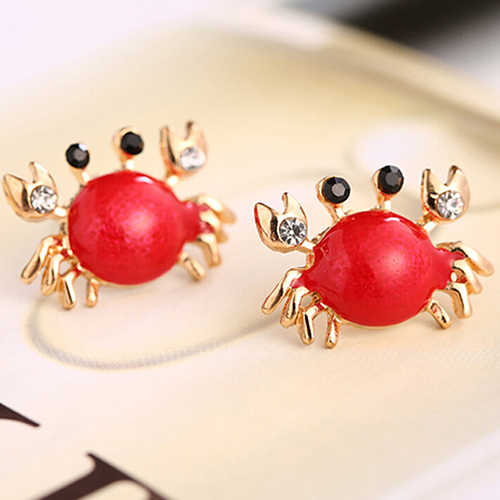 Bluelans النساء البحر الحياة Crab الراين الأذن ترصيع سبائك الذهبي موضة أقراط مجوهرات
