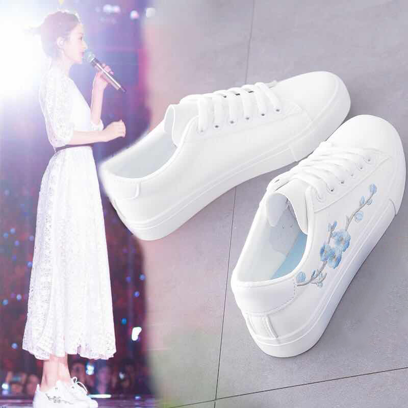 Stracel White Sneakers Breathable Flats Women Canvas Shoes Lace-up Flower Casual Ladies Shoes Woman Tenis Feminino 2019