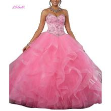 Sexy Sweetheart Beaded Rhinestone Quinceanera Dresses Long Sleeves Empire Party Dresses Ball Gown Organza Prom Dresses цена и фото