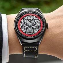 2018 PAGANI DESIGN Men's Watches Classic 3D Skull Punk Style Mechanical Watches Waterproof Leather Band Luxury Automatic Watch pagani design automatic watch men waterproof mechanical watches mens self winding horloges mannen dropship