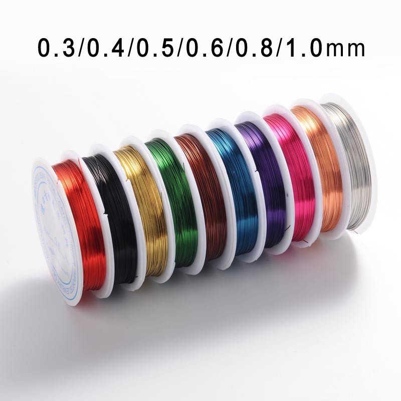0,3/0,4/0,5/0,6/0,8/1,0mm latón cobre joyería cuentas alambre para collar artesanal pulsera DIY hacer Accesorios mixtos