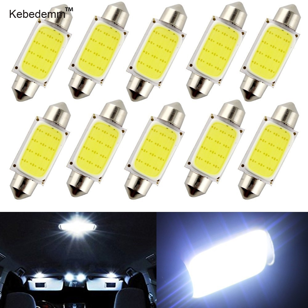 10pcs White 41mm 12V 6500K COB LED Bulbs For Car Head lights Dome Door Lights