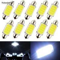 Domo de luz de 31mm, 36mm, 39mm, 41mm, COB para coche de 1,5 W cc 12V, luces interiores de bombillas LED para lámpara de coche, Bombilla de placa de techo 10 unidades por lote