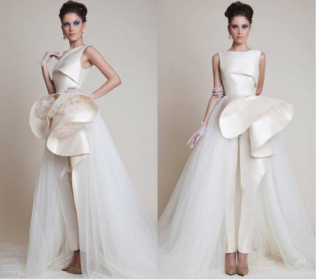 Zuhairmurad Bridal Ball Gown Tulle Satin Pants Wedding Dresses Hz110