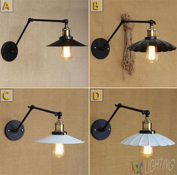 ФОТО New Loft Retro Industrial Swing arm White Black Iron Lampshade Wall lamp Fixture artefactos de iluminacion for home office