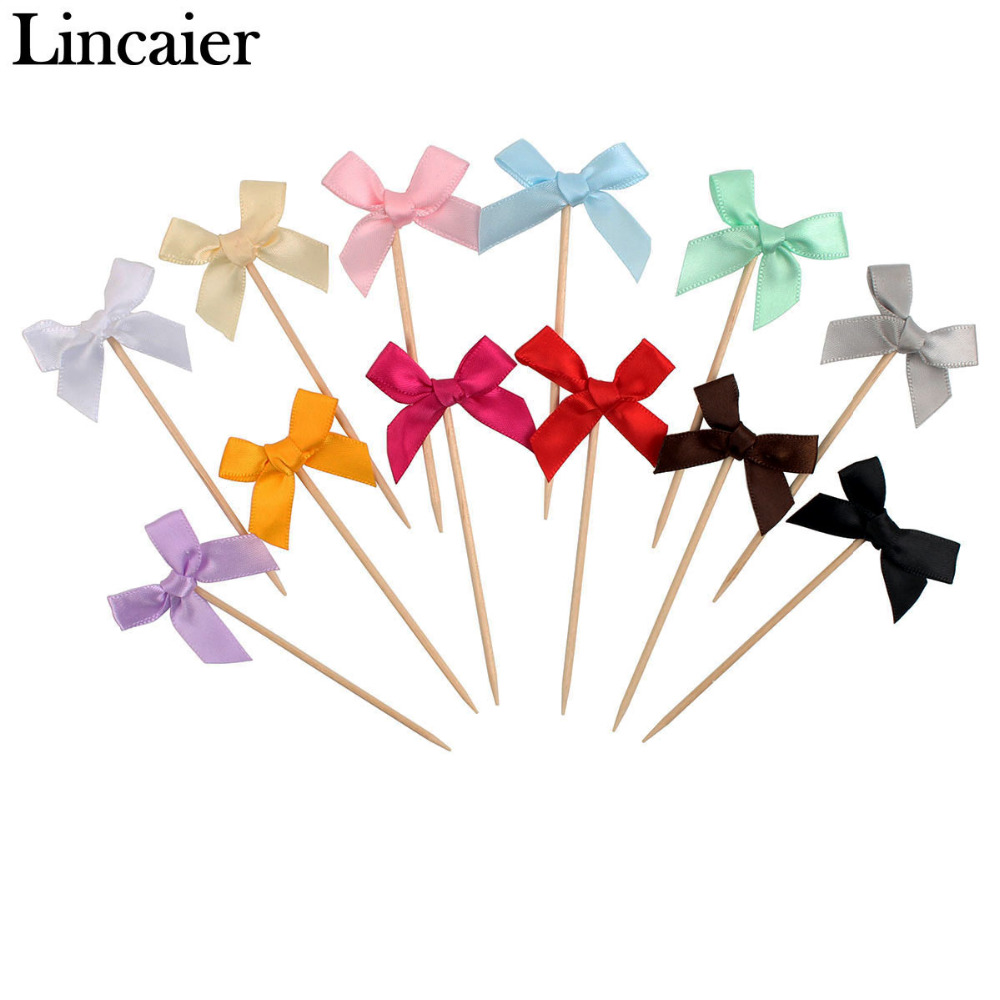 48pcs Ribbon Bow Cupcake Toppers Wedding Birthday Party Table Decorations Kids Baby Shower Boy Girl Supplies Adult