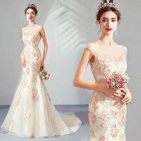 Elegant Mermaid Wedding Dresses V neck Cap Sleeves Fairy Bridal Gowns Backless Sweep Train Vestidos De Noivas Custom Made