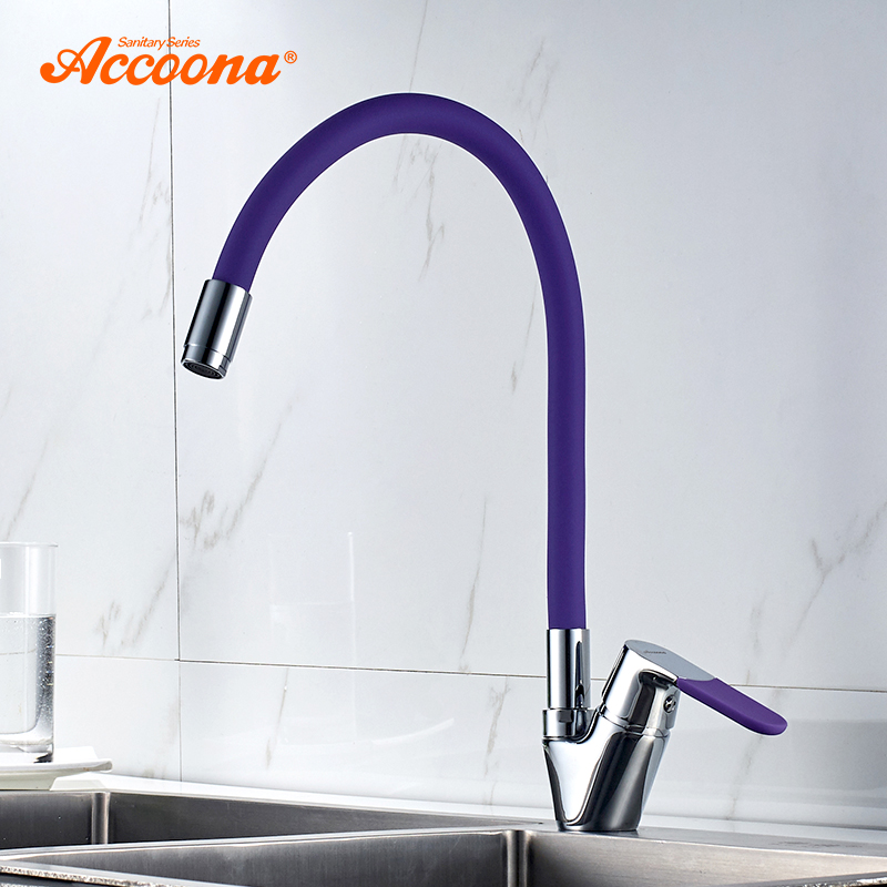 Accoona Silicone Tube Kitchen Faucet Brass Pull Out Mixer Tap Sinks Single Handle Deck Mounted Hot And Cold Water Faucet A4819SAccoona Silicone Tube Kitchen Faucet Brass Pull Out Mixer Tap Sinks Single Handle Deck Mounted Hot And Cold Water Faucet A4819S