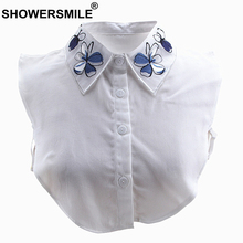 SHOWERSMILE Women Detachable Collar Removable Embroidery Fake Collars Ladies White Fashion Flower Chiffon False Shirt