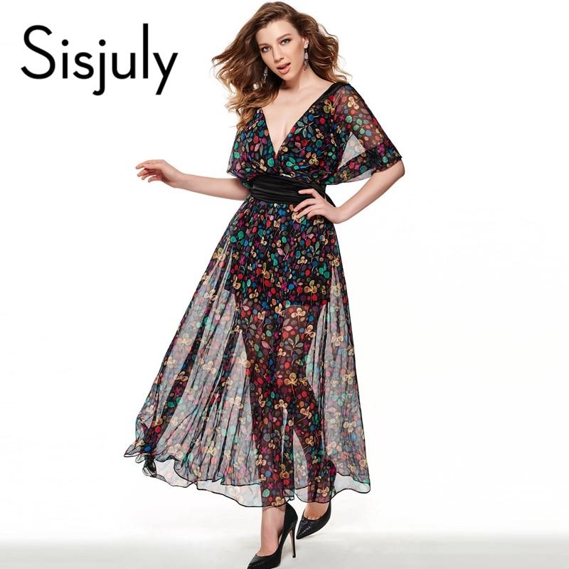 Sisjuly maxi dress negro impreso floral dress largo moda mujeres summer dress es