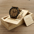 2017 BOBO BIRD Brand Calendar Display Wood Dial Watch Men Wood Watches - Wooden Gift Box- Brown Leather Strap C-I17M