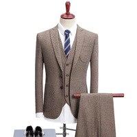 Бесплатная доставка Высокое качество Винтаж серый шерстяной твид костюм мужские S 4XL мода Slim Fit платье в деловом стиле костюмы мужской сваде