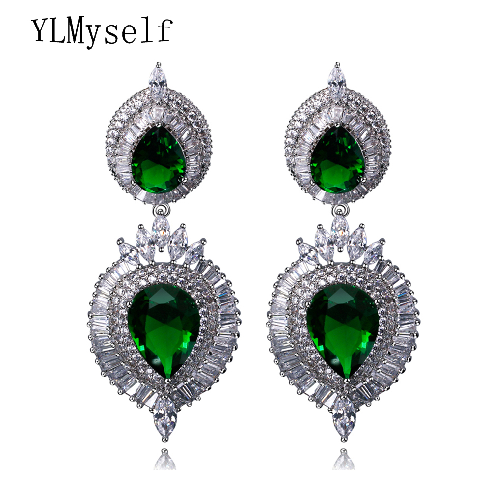 Long big teardrop earrings fashion blue green clear for Red black and green jewelry