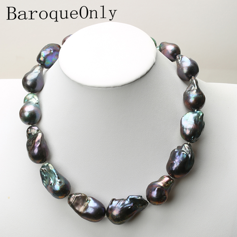 15 35MM Natural pearl black baroque pearl chain necklace choker long necklace 45 50 55 AAAA
