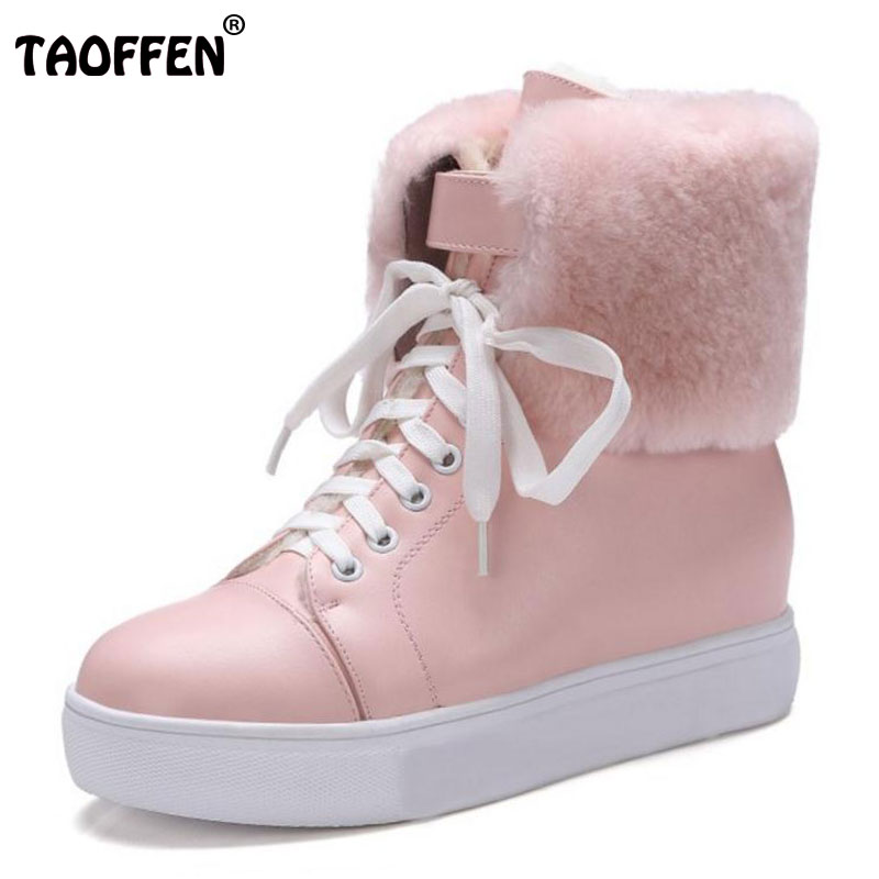 TAOFFEN 4 Colors Women Mid Calf Flats Boots Women Thick Fur Cross Strap Flats Boots Warm Winter Shoes Woman Footwear Size 34-39 taoffen size 30 52 russia women round toe height increasing mid calf boots woman cross strap warm fur winter half shoes footwear