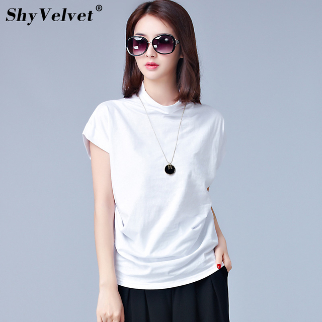 Turtleneck Short Sleeve Shirt Women Office Ladies Work Wear Casual Blouse  Summer New Plus Size 3XL Loose Tops White Black Khaki d59eeca5bc90