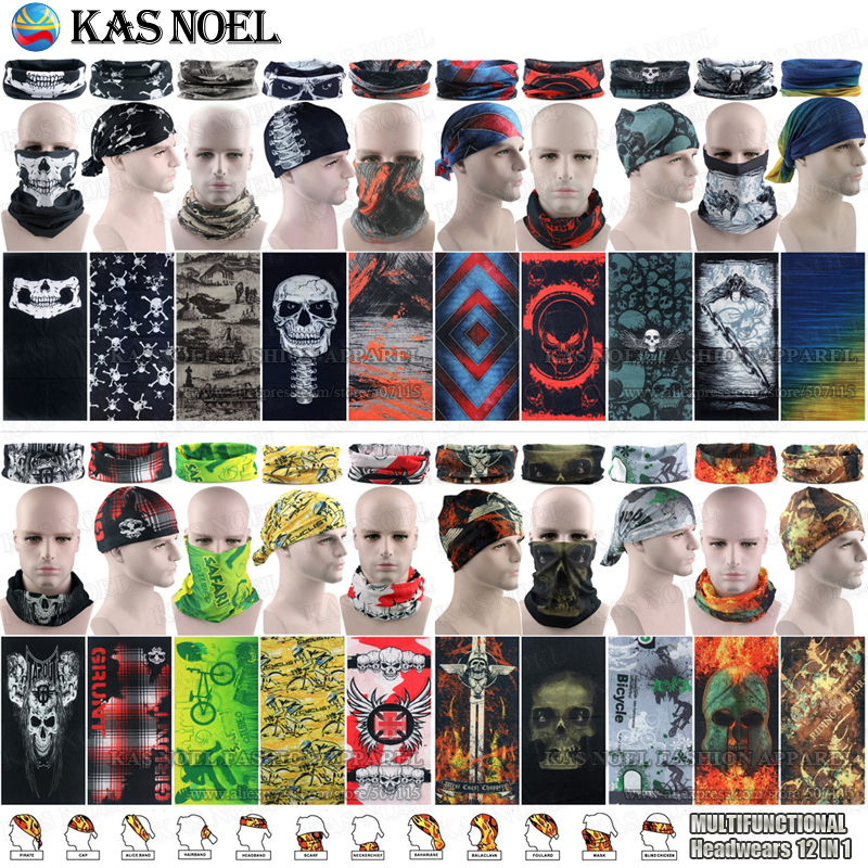 Najnowsze Outdoor Sports Szaliki Sunscreen Bicycle Scarf Pałąk Czaszka Tubular Face Shield Bandany Multi Purpose Seamless Bandana