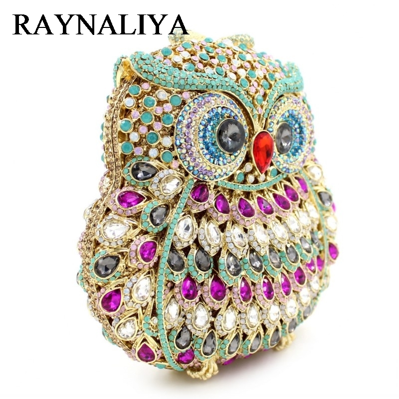 GIFT BOX Owl Diamond Evening Women Clutch Bag Party Crystals Clutches Wedding Purses Ladies Hollow Out Handbags ZH-B0225