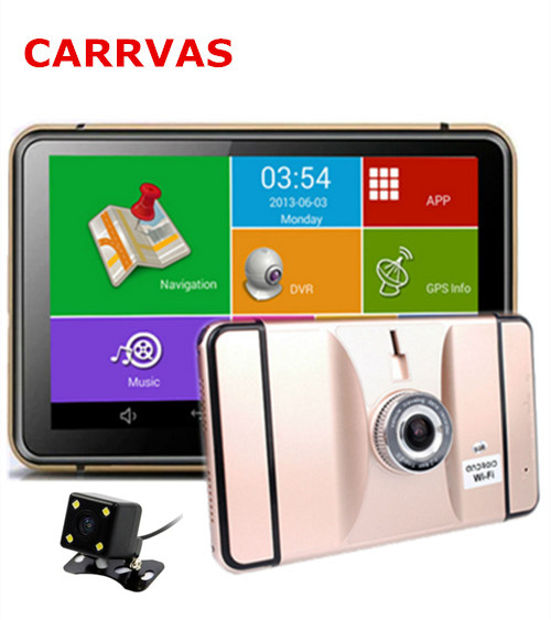 7 Inch Car DVR GPS Navigation Android WIFI 1080P DVR Recorder With Rearview Camera 512Mb 8Gb Truck Vehicle Gps Navigator