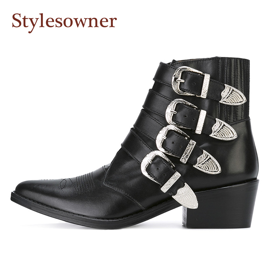 Stylesowner Real Leather Motorcycle Boots Women Top Quality Block Heel Autumn Winter Ankle Boots Metal Belt Buckles Pointy Toe
