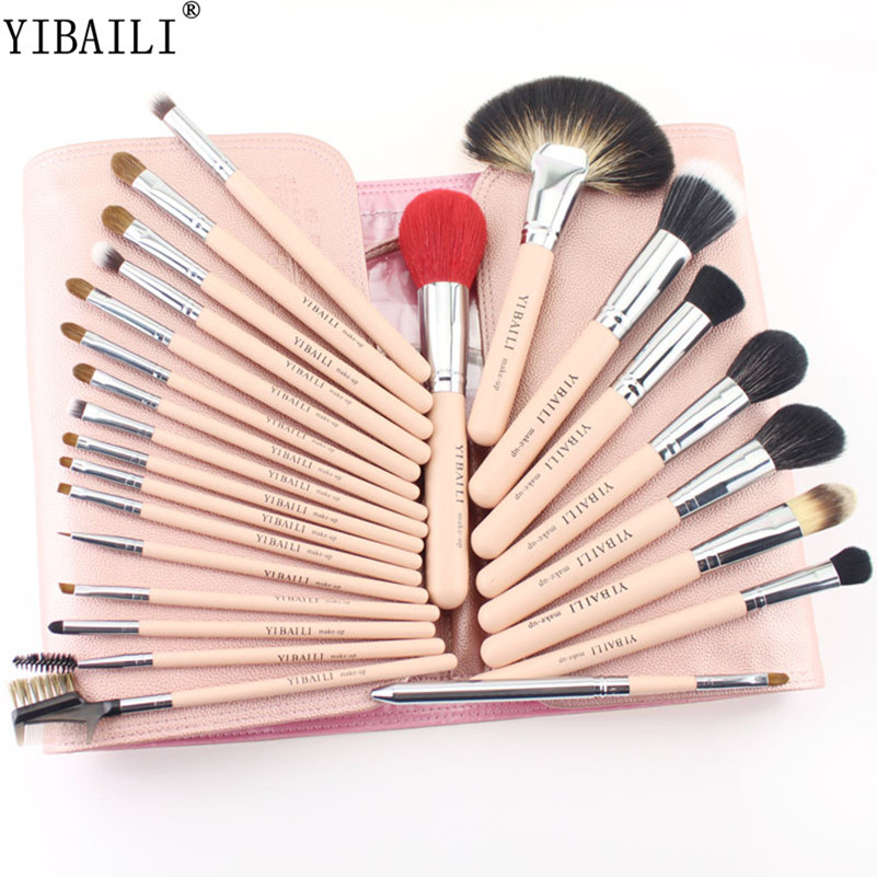 YIBAILI 25PCS Pink Color Make Up Brushes With Bag High Quality Professional Cosmetic Tool For Face Beauty