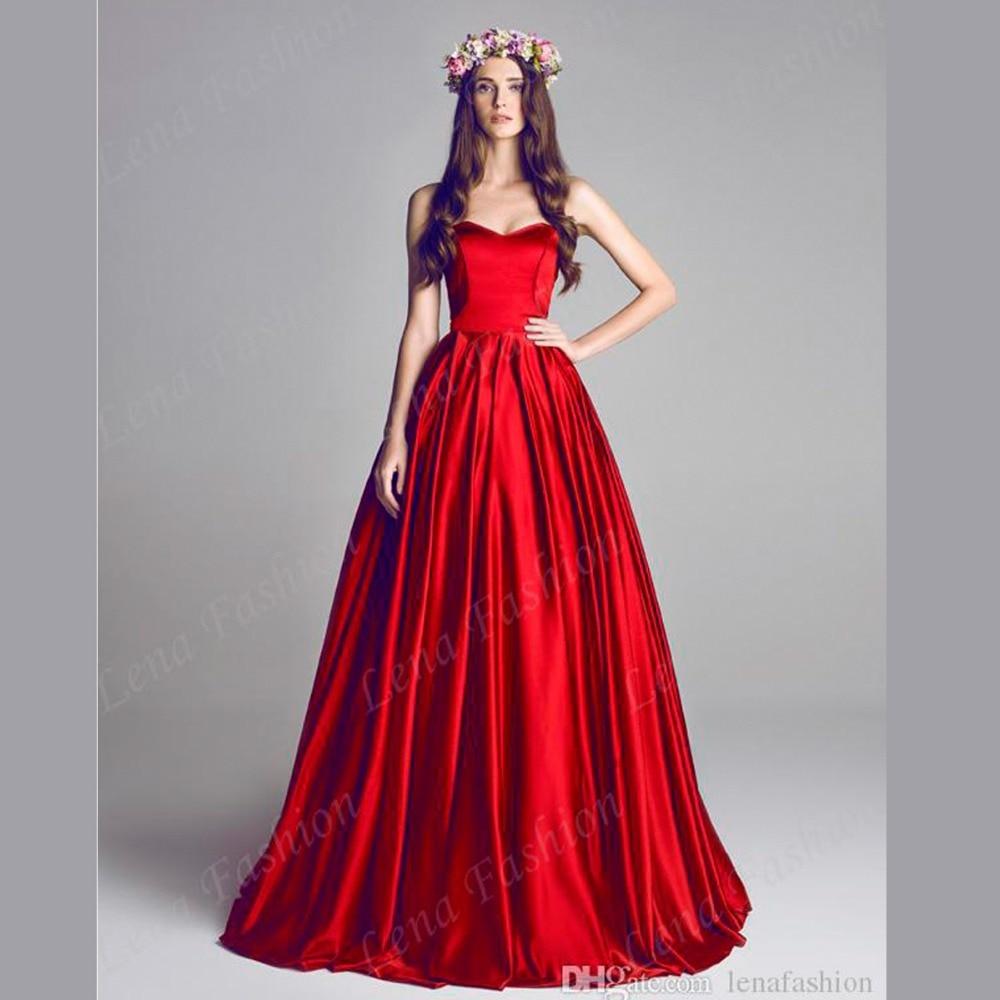 Designer Runway Sweetheart A line Satin Bridal Gowns Long Women ...