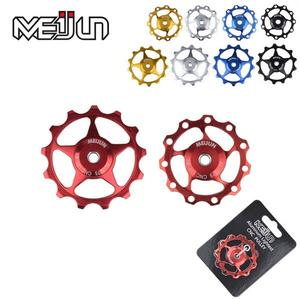 2Pcs 11 Tooth MTB Mountain Bikes bicycle Rear Derailleur parts CNC Aluminum Alloy 11T 13T Guide Wheel Idler Pulley Jockey Wheel(China)
