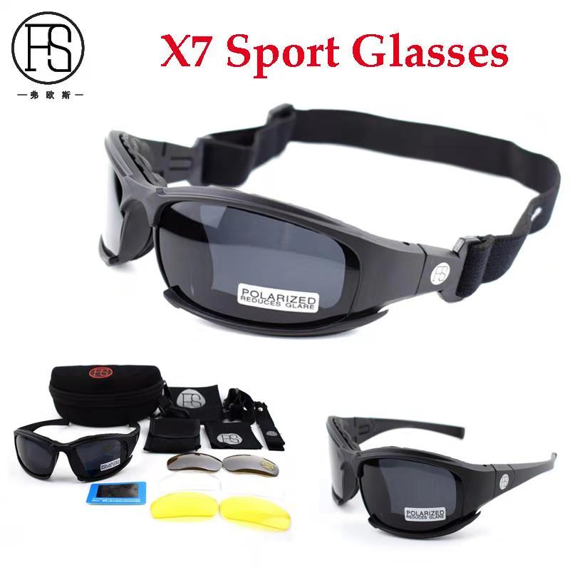 Sport Polarized Tactical X7 C5 Glasses Military Goggles Army Sunglasses 4 Lens Men Shooting Eyewear Hiking Camping Glasses