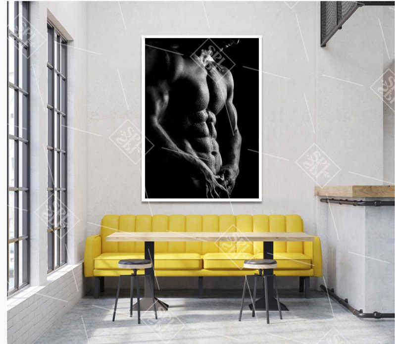 Moderno in Bianco e Nero della Tela di Canapa Stampata Poster Sexy Fitness Esercizio Muscolare Pittura Decorativa Camera Da Letto Immagine di Arte Della Parete Senza Cornice