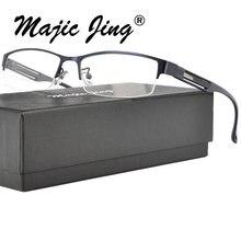 Magic Jing металлические оптические оправы для очков в виде храма TR, оптические рамки для мужчин 2101