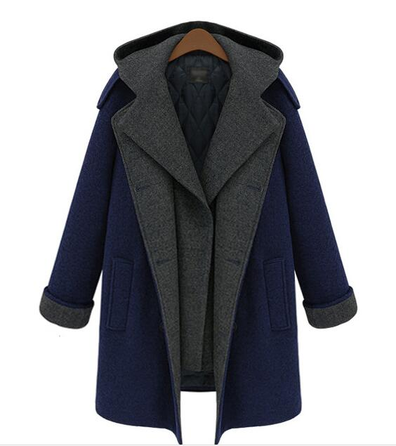 2017 woolen cloth coat ladys coat navy long wool coat winter coat women winter dress M-5XL