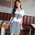 2016 new summer maternity dresses knitted stripe T shirts pregnancy dresses maternity clothing summer clothing 16529