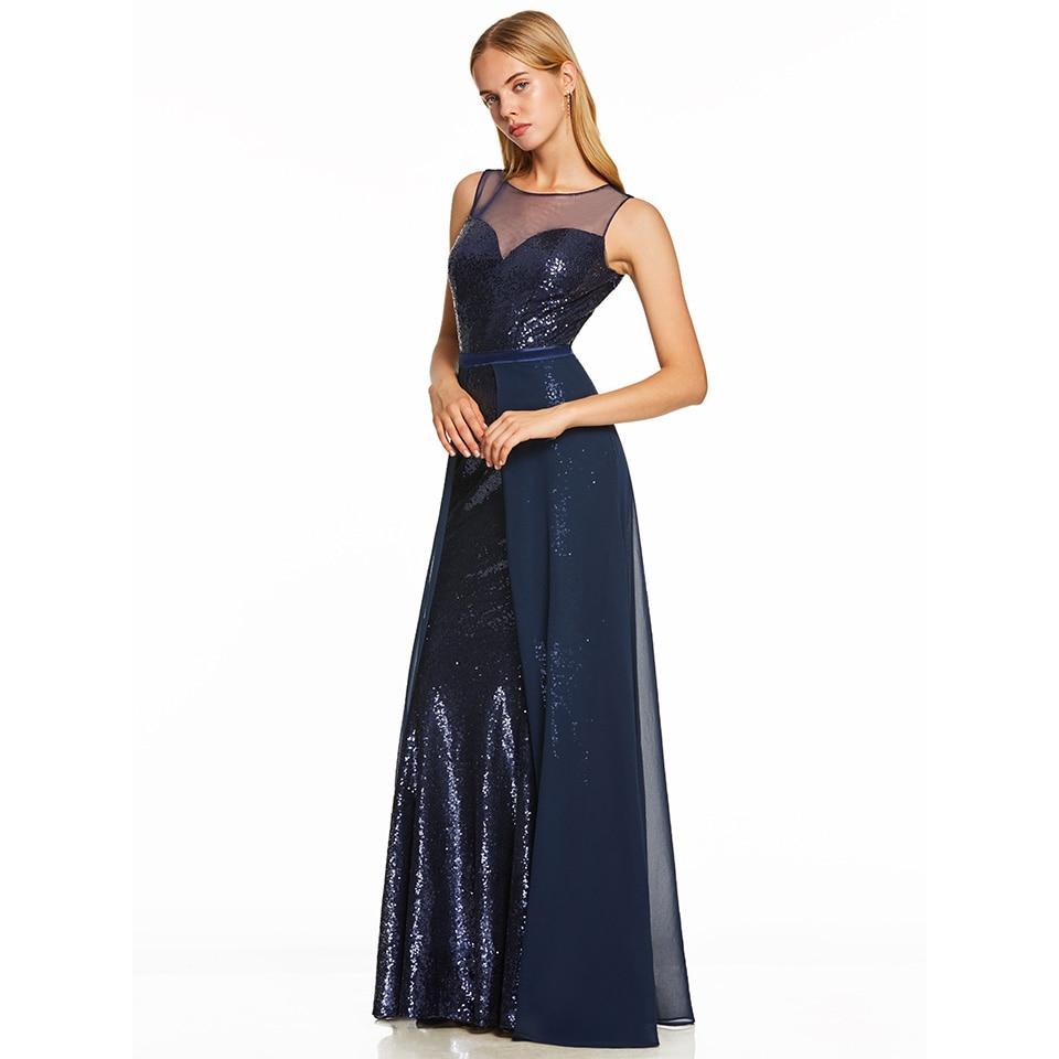Dressv Dark Royal Blue Long Evening Dress Cheap Scoop Neck Sleeveless Wedding Party Formal Dress A Line Evening Dresses