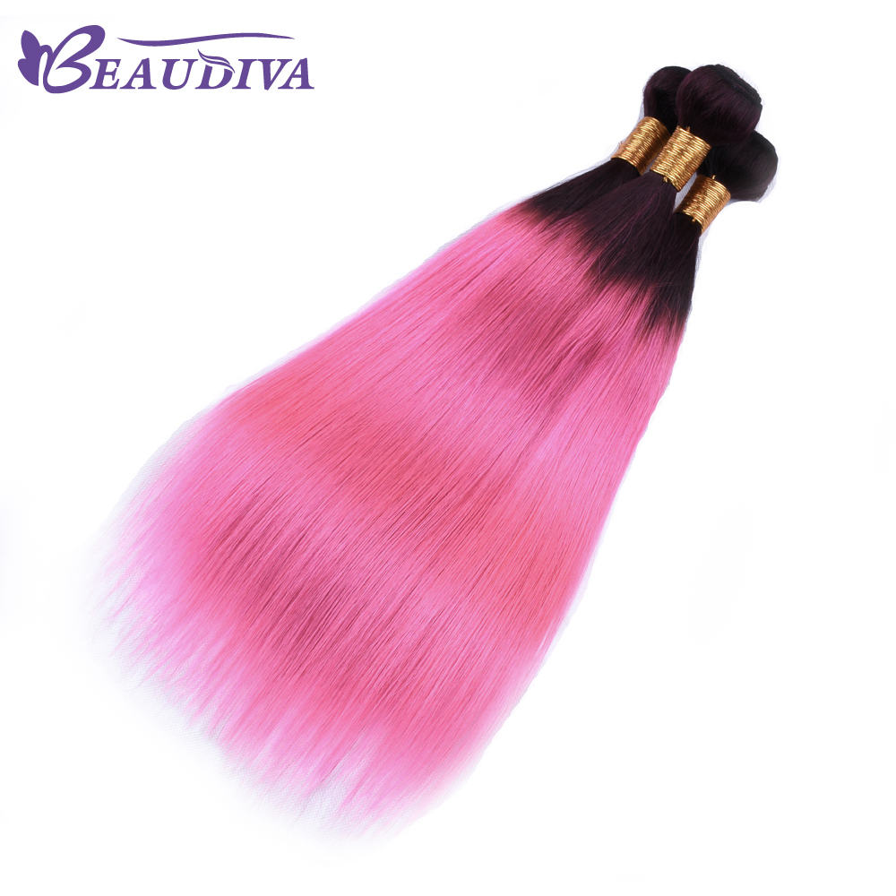 BEAU DIVA Hair Straight Hair Bundles Four piece Brazilian TB/PINK Color Remy Human Hair Extensions 8-26 Inches Free Shipping
