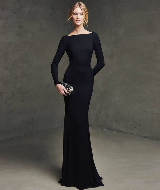 Simplistic Long Sleeves Custom Made Evening Formal Dress Boat Neck